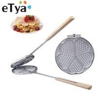 Household Waffle Mold Pan DIY Cake Molds Cast Aluminum Base Stovetop Belgian Waffle Iron Baking Tools