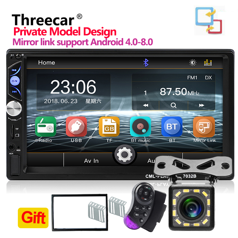 7032B Car Multimedia Player Universal 7 Car Audio Stereo Player 2DIN Touch Screen Car Video MP5 Player BT TF SD USB FM Camera