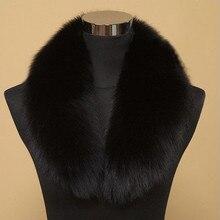 Качественный большой меховой воротник из искусственного лисьего меха, Женская Роскошная меховая шапка, шарфы, обертывания, зимнее пальто, черное, белое