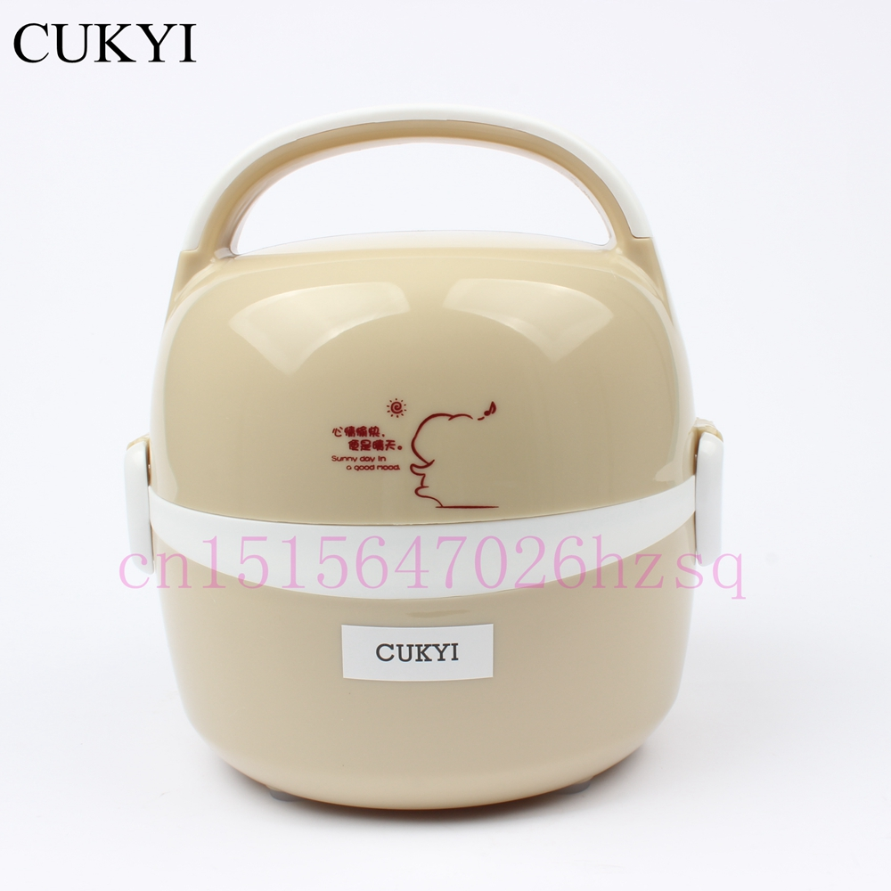 CUKYI 1.3L 200w Electric heating lunch box Double deck stainless steel electric boxes Thermal insulation lunch box multi function electric lunch box stainless steel tank household pluggable electric heating insulation lunch box