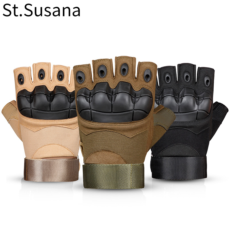 St.Susana 2018 Summer Men Fingerless Male Fashion Sports Fitness Weight Lifting Riding Tactical Gloves