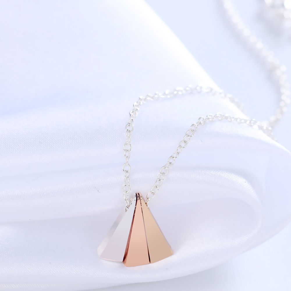 Чандлер цвета: золотистый, серебристый покрытие из розового золота 3 цвета Треугольники цепи Цепочки и ожерелья и кулон для Для женщин геоме...