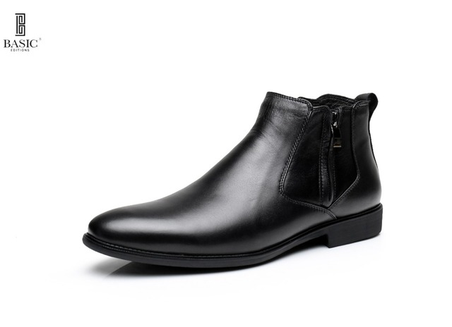 Basic Anywear Men's Leather Low Top Zipper Oxford Dress Ankle Boots - M1028-3
