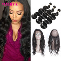 360 Lace Frontal With Bundle 8A Peruvian Body Wave 360 Frontal With Bundles Top Lace Frontal Closure christmas gifts for women