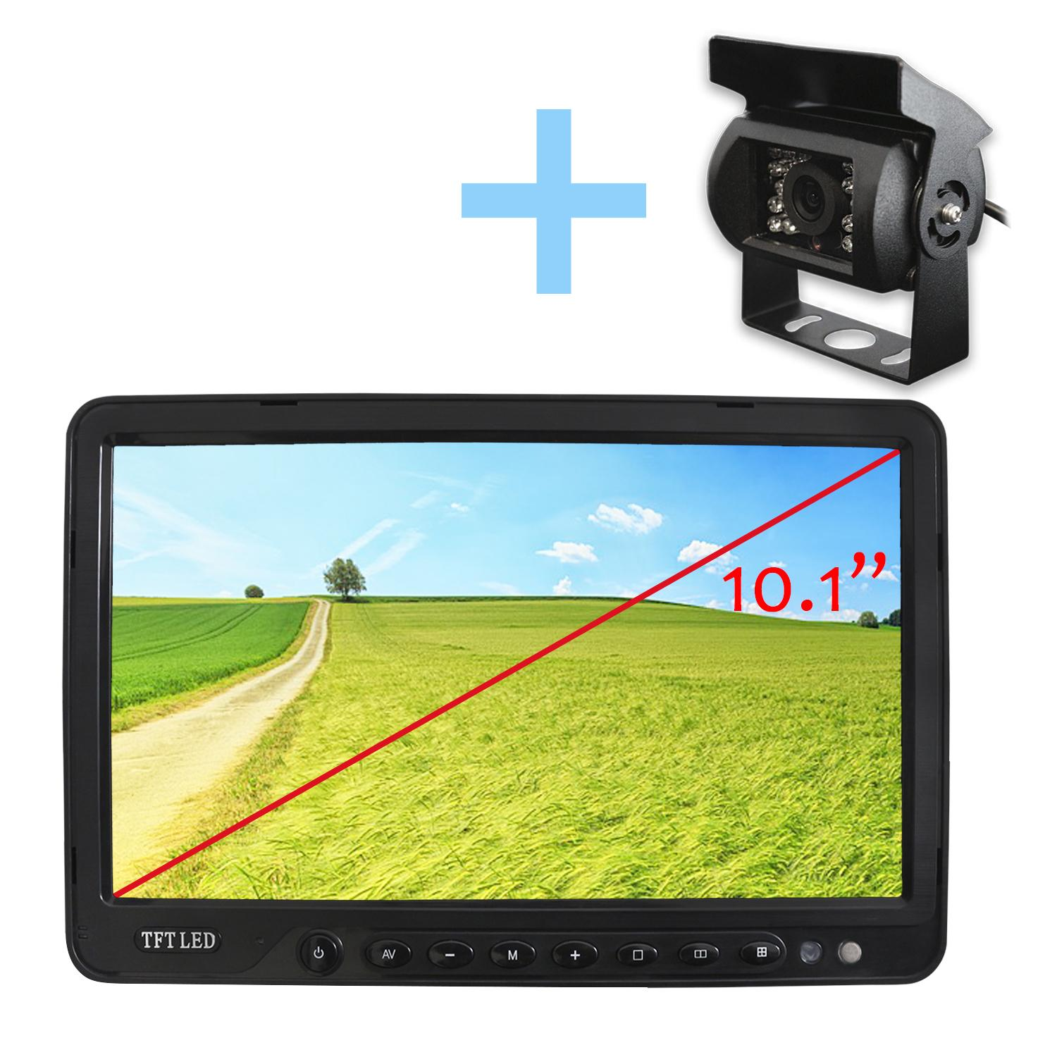Kit for parking or reversing's camera with infrared and Screen 10,1 4 troughs