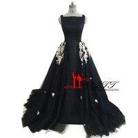 Robe De Soiree Longue 2017 Arabic Evening Dresses Long Black Lace Appliques Detachable Skirt Formal Evening