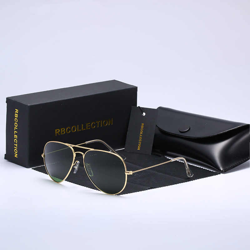R.BCOLLECTION  Glass lens metal frame aviation sunglasses 3025 women men feminin brand oculos vintage sunglasses with box