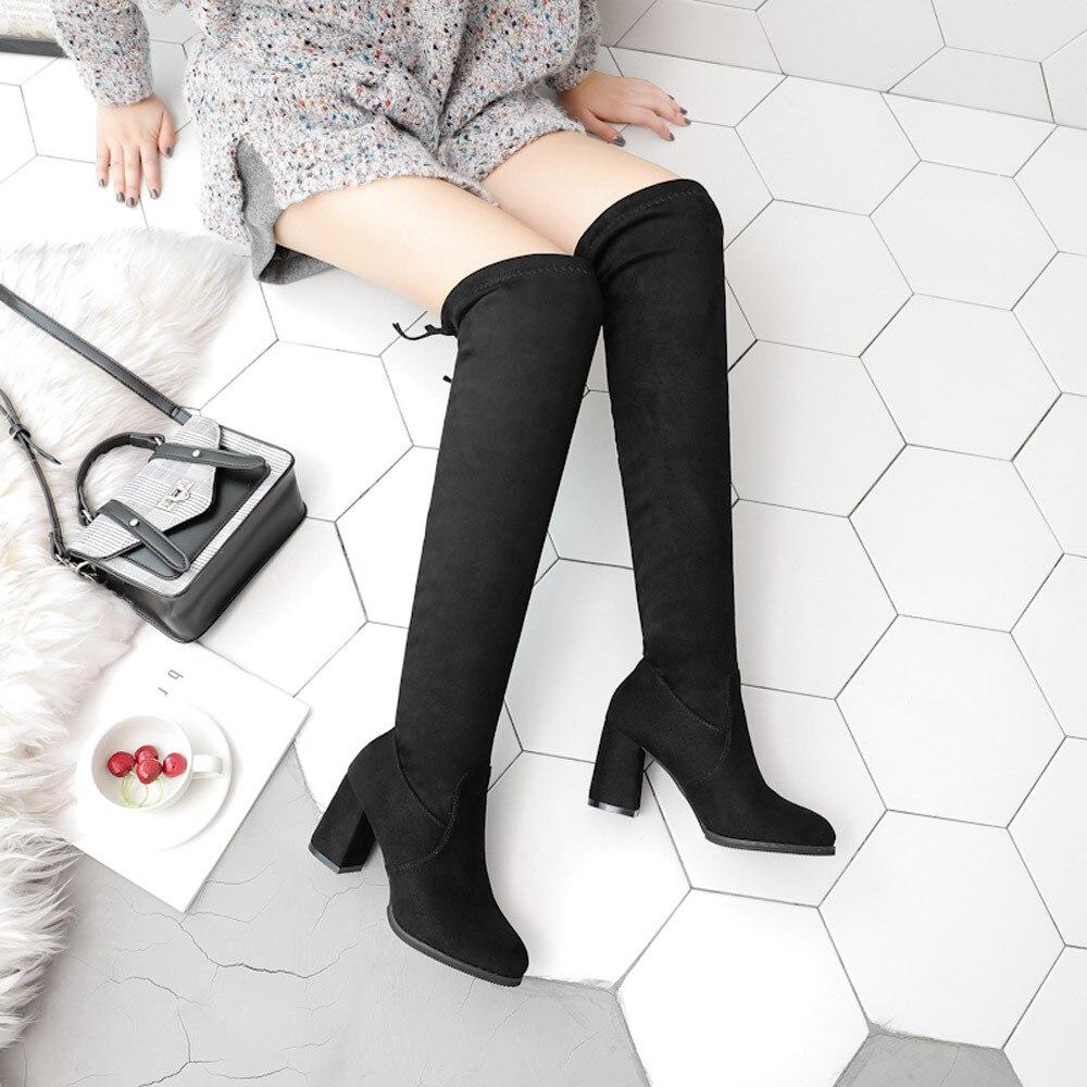 Nuevo Flock cuero mujeres sobre la rodilla botas de encaje hasta tacones  altos Sexy zapatos de mujer botas de invierno tamaño cálido 35 40 en Botas  por ... 1c105349a387