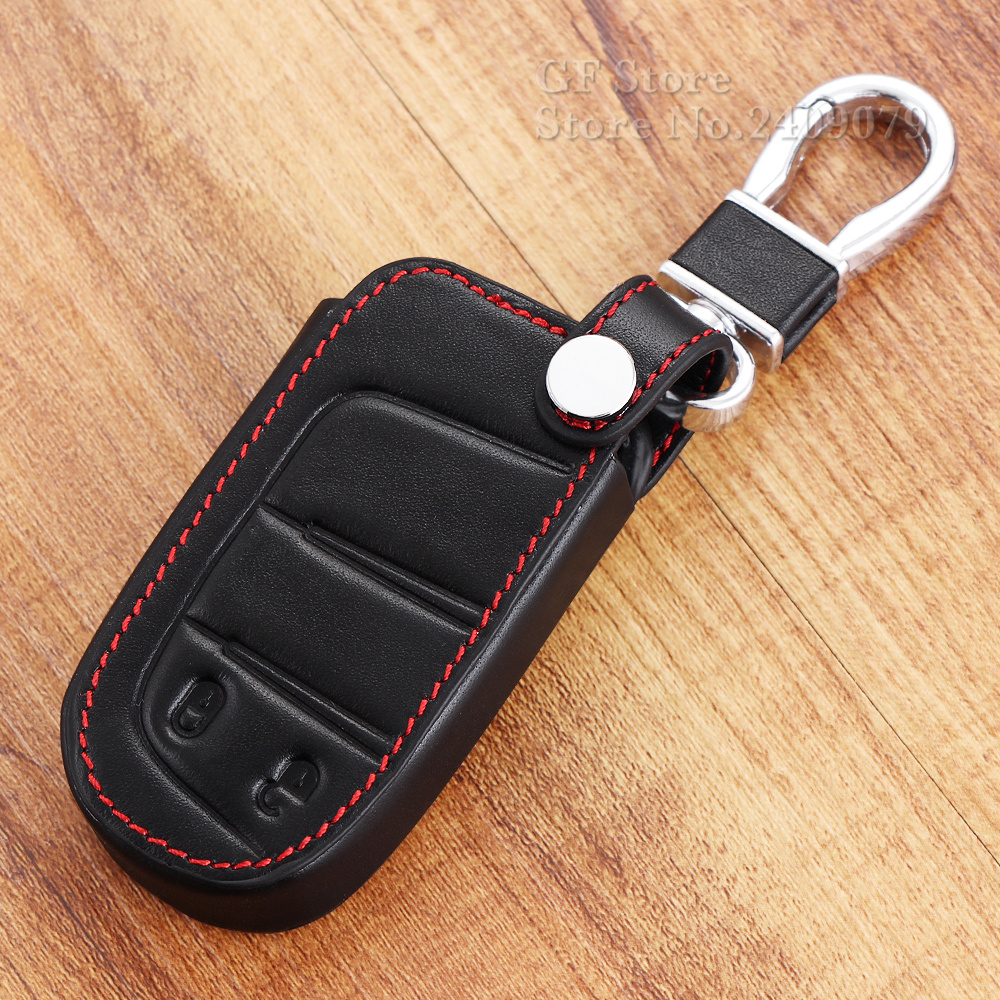 Genuine leather key fob case cover jacket set holder for jeep wrangler grand cherokee compass longitude