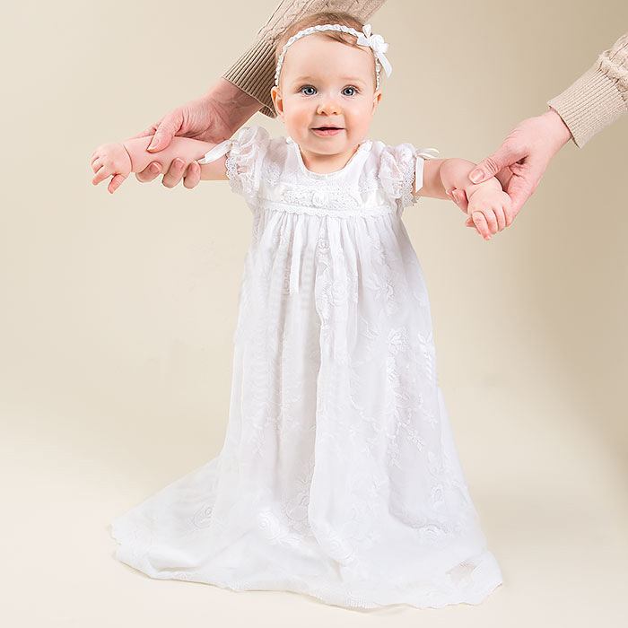 2016 Manual Baptism Gown Baby Infant Floor Length 0-24 Month Christening Dress Lace White/Ivory With Headband
