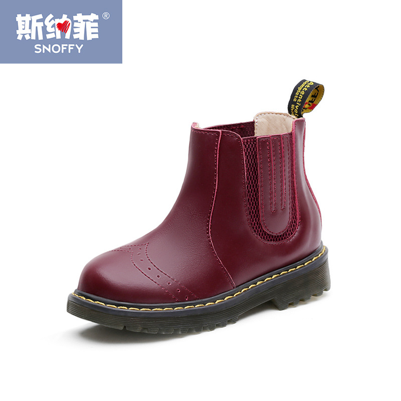 British Kids Boys Martin Boots Winter Warm Casual Girls Shoes Fashion Brand Genuine Leather Children Snow Boots  TX104 цена 2016