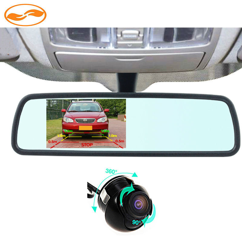 360 Degrees Viewing Angle Rear / Front View Camera with Universal Bracket Mirror Monitor for Driving Parking Safety 0
