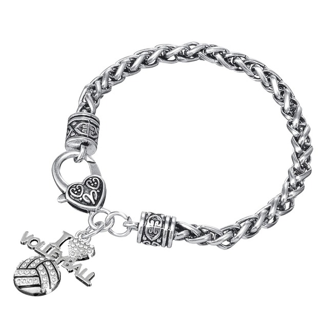 My Shape Crystal I Love Volleyball Sports Charm Lobster Clasp Bracelet Fans Jewelry