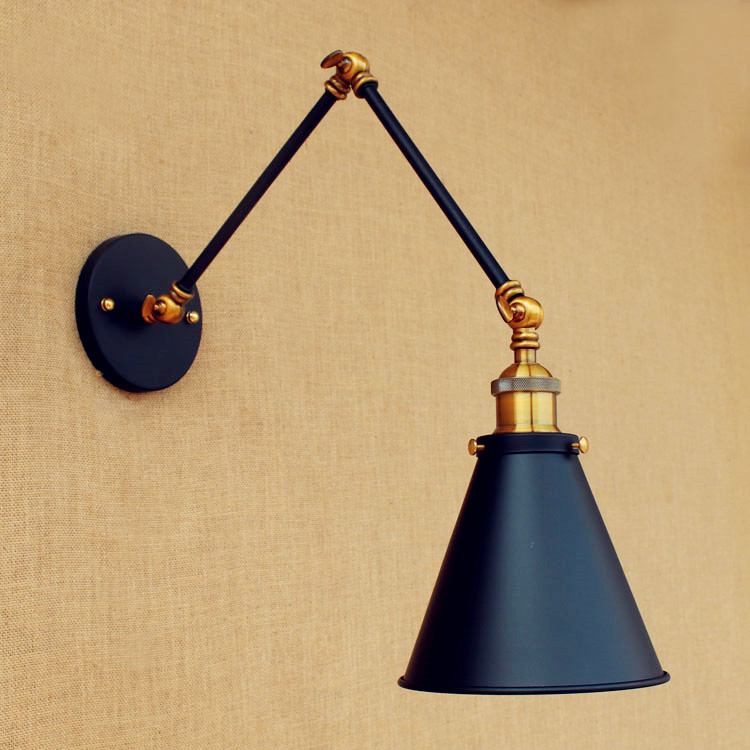 Antique Black Wall Sconce Vintage Wall Lights Fixtures Swing Long Arm Light Retro Loft LED Industrial Wall Lamp Lampara Pared loft nordic vintage wall lamp classic gold art sconce decorative light adjustable head led 2 swing arm wall lights reading e27
