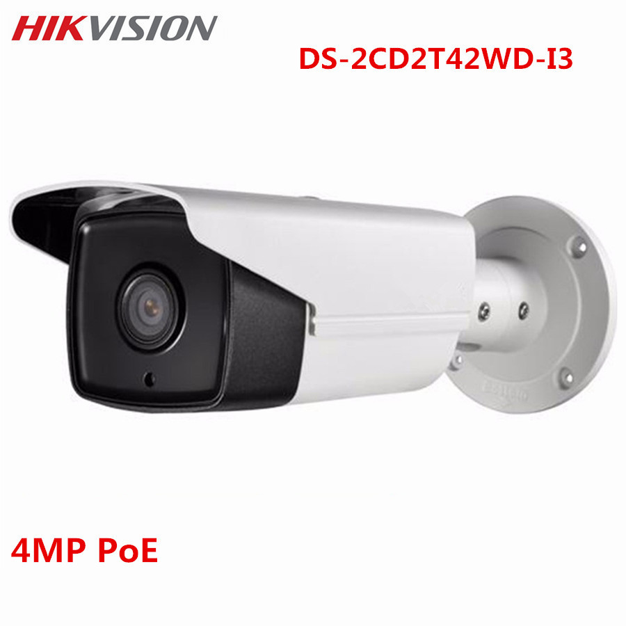 Hikvision CCTV 4MP IP POE Camera DS-2CD2T42WD-I3 30m IR WDR ONVIF Outdoor IP67 Night Version Surveillance Bullet Camera hikvision ds 2de7230iw ae english version 2mp 1080p ip camera ptz camera 4 3mm 129mm 30x zoom support ezviz ip66 outdoor poe