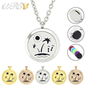 20mm/25mm/30mm stainless steel tropical beach style diffuser necklace coconut tree perfume locket pendant (free matching chain)