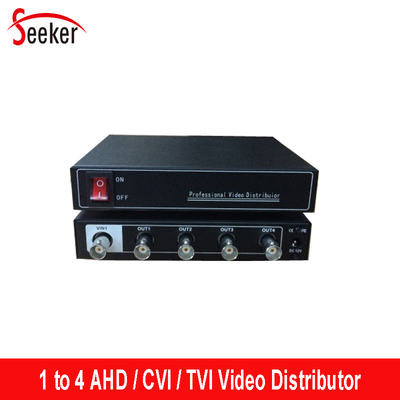 Seeker Professional 1 in 4 out Video Distributor for AHD/CVI/DVR 1 to 4 Output BNC Video Splitter Adapter for Security System 1 in 4 out ahd tvi cvi video distributor amplifier 1ch to 4ch splitter for cctv security camera system bnc 1x 4 video splitter