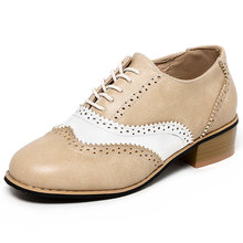 HEE GRAND Women's Oxfords PU Leather Brogue Shoes Woman Med High Heels Pumps For Autumn Solid Lace Up Ankle Boots Woman XD249
