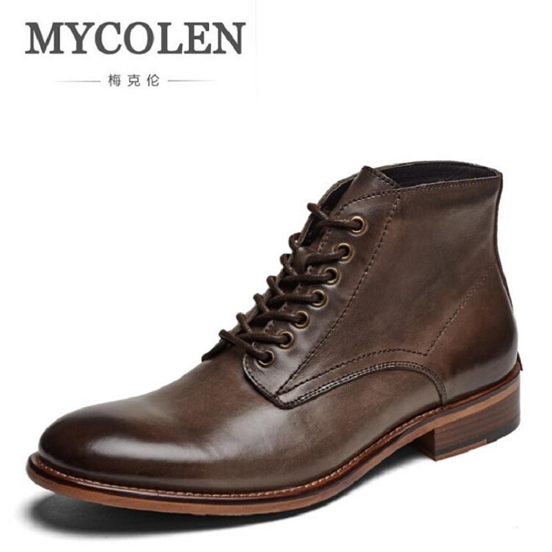 MYCOLEN Genuine Leather Martin Boots Winter Men Bullock Retro Chelsea Boots Top Quality Slip-On Oxfords Man Botines Hombre mycolen brand boots breathable slip on chelsea boots genuine leather male wear boots fashion casual man military shose sapatos