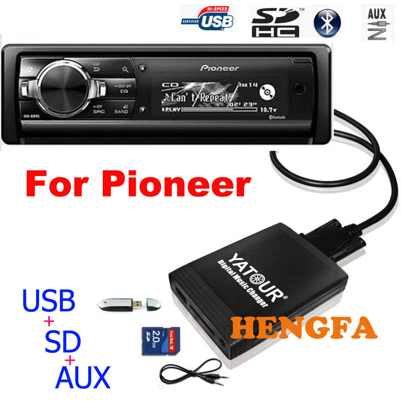 Yatour Car Audio MP3  Player for Pioneer DEH-P900 KEH-P6200-W MEH-P055 DEH-88 Digital Music Changer USB MP3 AUX BT Adapter car digital music changer usb sd aux adapter audio interface mp3 converter for toyota yaris 2006 2011 fits select oem radios