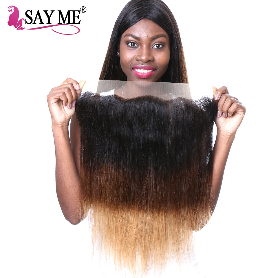 SAY ME Ombre Brazilian Hair Straight Remy Hair 13x4 Lace Frontal Closure Pre Plucked 1B 4