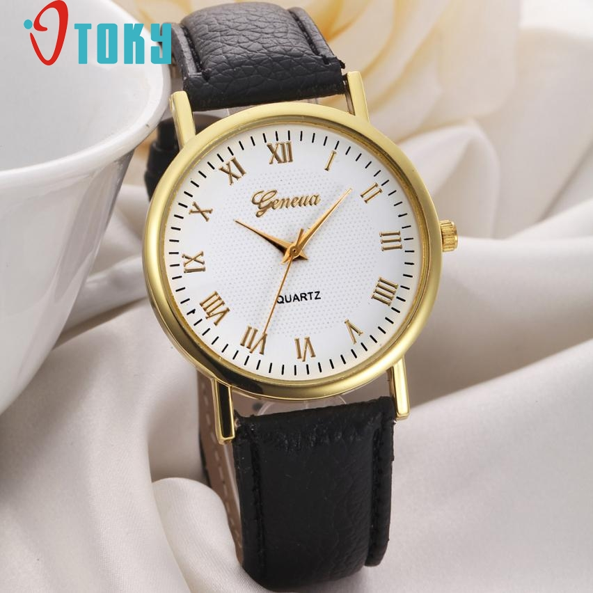 Creative Casual Style Watches Fashion Simple Design Watch Women Leisure Dial Faux Leather Band
