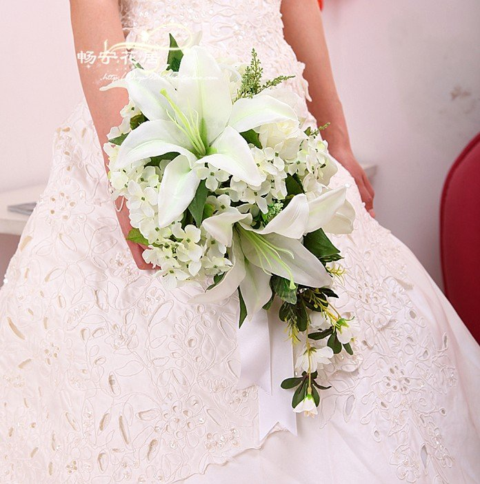 Wedding Flower Arrangements With Lilies : Bouquet rose picture more detailed about new arrival pink ivory lily silk wedding