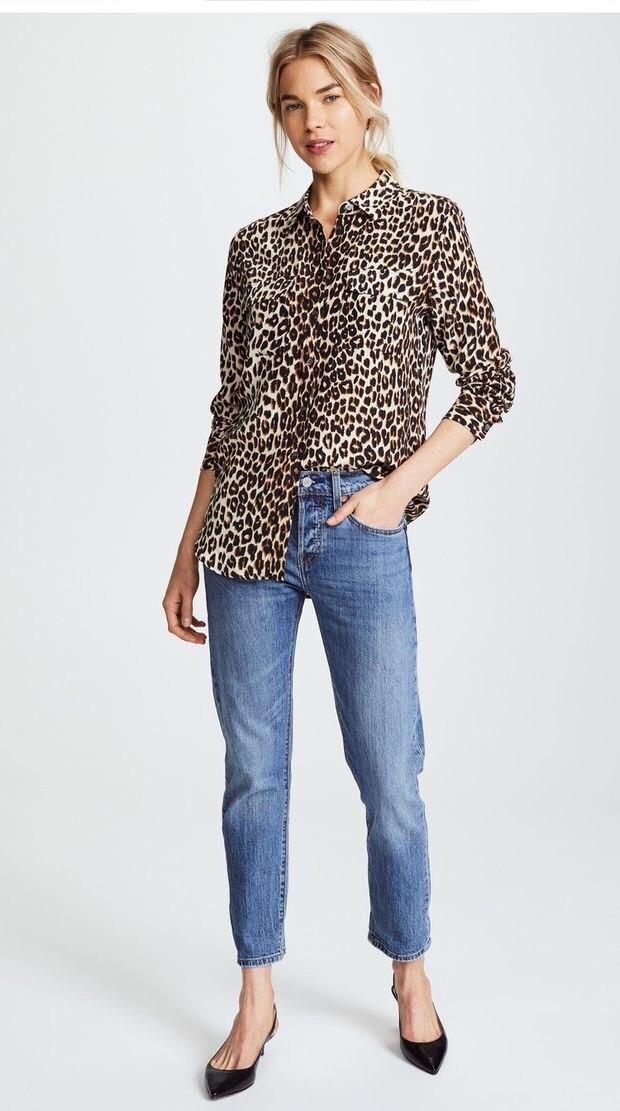 Pocket Imprimé Soie Printemps Blouse Chemise Femmes Top Leopard Ne Léopard À 2019 Longues Manches nvq6xSRI
