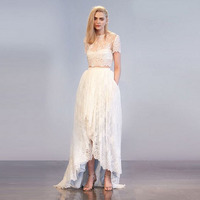Exquisite Bridal Wedding Skirt Custom Made Floor Length Long Maxi Skirt White Lace Tulle High Low