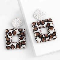 Fashion Handmade leopard earrings exaggerated Beach Bead Earrings 2019 Women Bohemian Jewelry Accessories2019ers-q16