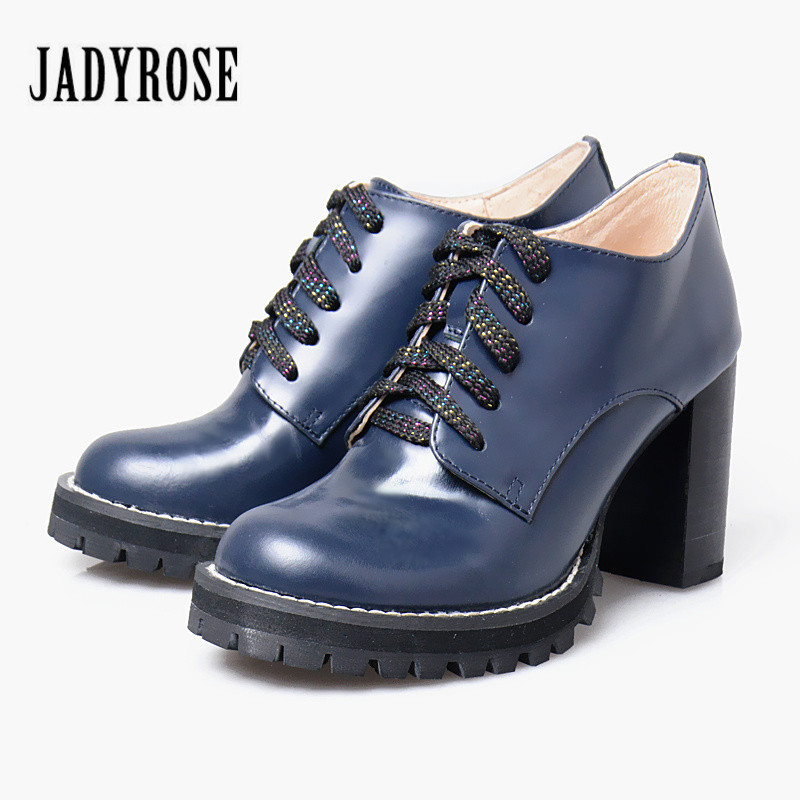 Jady Rose Fashion Lace Up Women Ankle Boots Round Toe Genuine Leather Chunky High Heels Female Platform Boots Women Pumps front lace up casual ankle boots autumn vintage brown new booties flat genuine leather suede shoes round toe fall female fashion