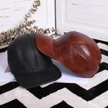 Мужская кожаная кепка с уткой на весну и осень, тонкий верхний слой из коровьей кожи, бейсболки, Кожаная шапка, зимние козырьки