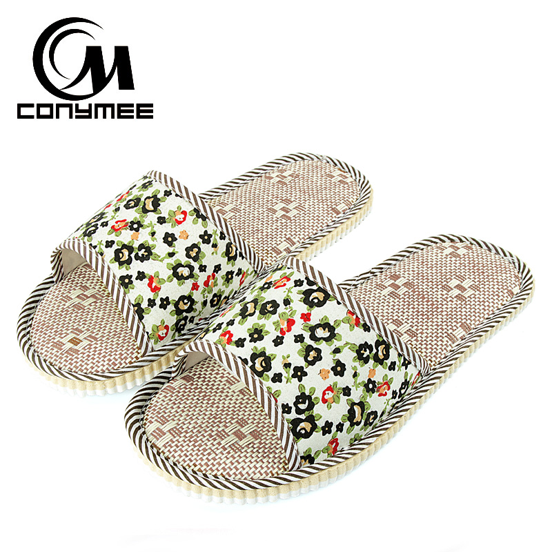 CONYMEE 2018 Home Slippers Woman Indoor Floor Shoes Silent Sweat Flax Slippers For Summer Women Floral Sandals Linen Slippers conymee jd xtw home slippers