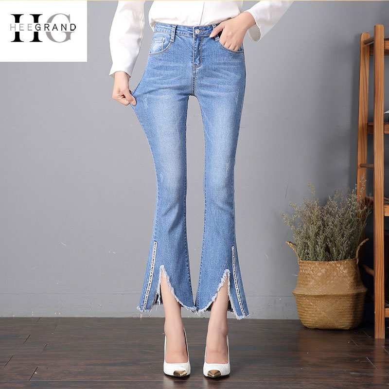 HEE GRAND 2018 Ankle-Length Jeans Women Spring Split Flare Pants Summer Washed Denim Women Jeans Middle Waist Trousers WKN599