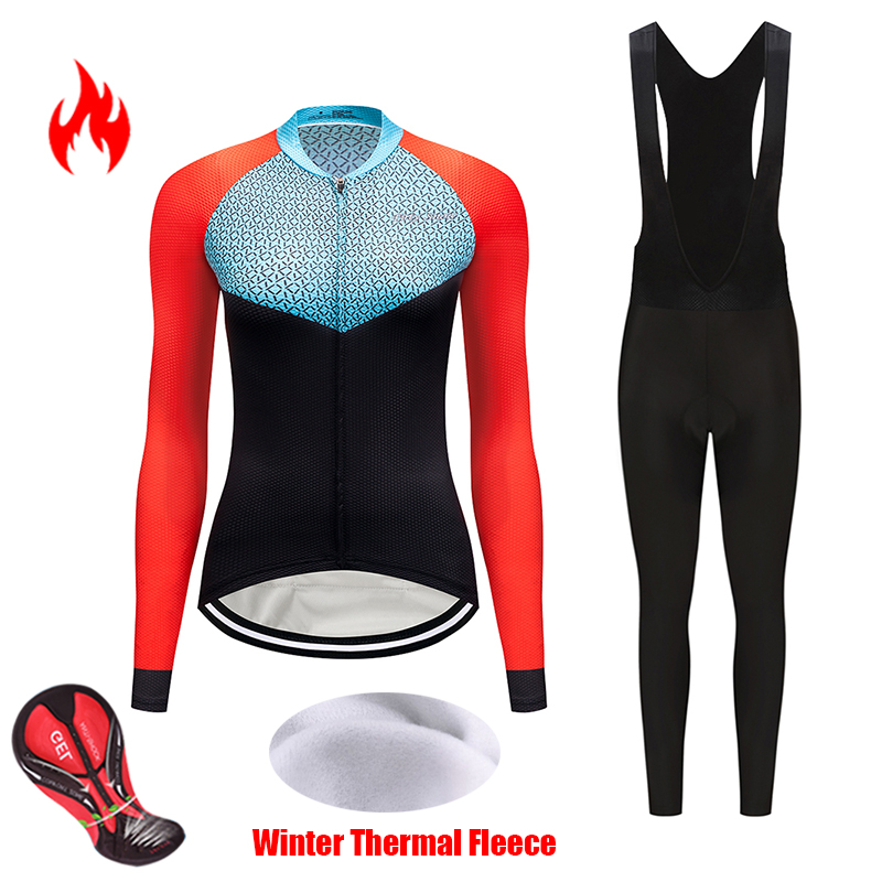 Thermal fleece cycling jersey 2019 winter womens set female bike clothes triathlon suit bicycle clothing uniform pantsuit outfit