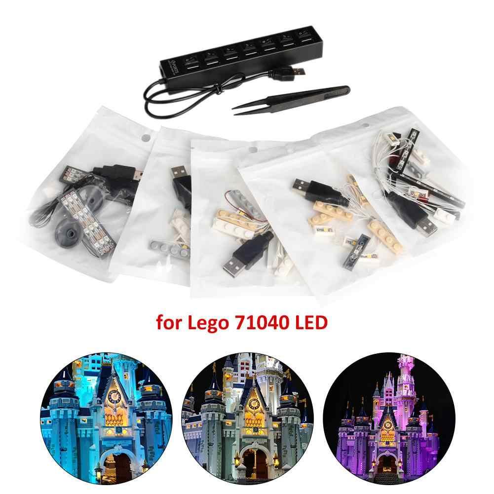 Zestaw oświetlenia LED dla LEGOing 71040 kompatybilny kopciuszek księżniczka zamek miasto Model kreatywny DIY Luminous klocki zestaw światła