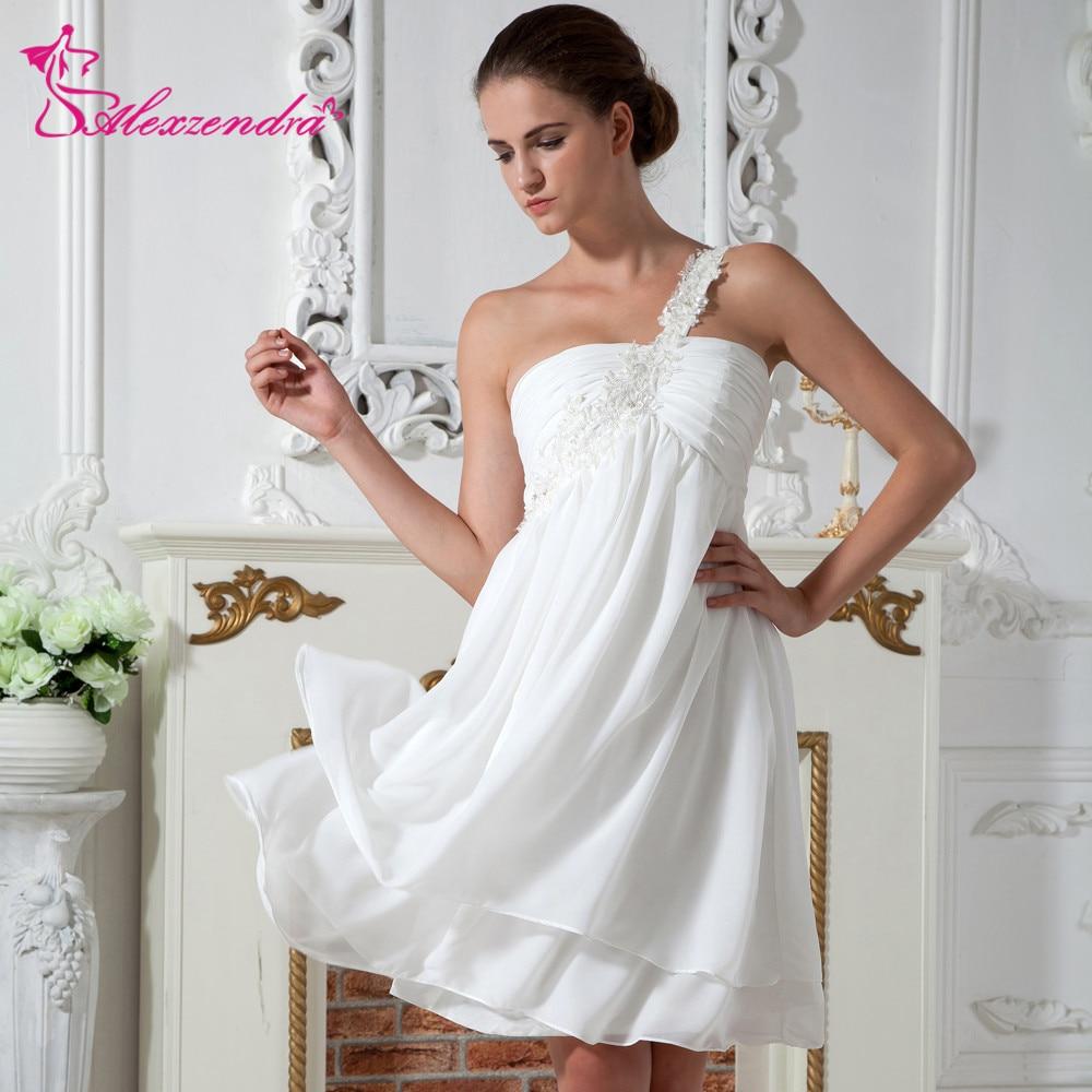 Alexzendra Chiffon Short Mini Wedding Dress Strapless Ruffles Simple Beads Bridal Gowns Plus Size