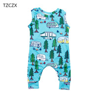 TZCZX 2030 New Children Baby Boys Rompers Novelty Cartoon Printed Sleeveless Jumpsuit For 6 To 18