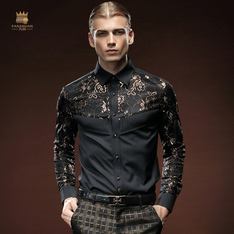 Fanzhuan Free Shipping New Fashion Casual Male Men's Black Slim Long Sleeved 2015 Stitching Shirt 512061 Plant Pattern In Stock