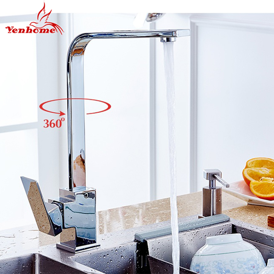 Yenhome Kitchen Sink Faucets 360 Rotate Brass Swivel Hot and Cold Water Kitchen Mixer Faucet Single Handle for Kitchen Mixer Tap 360 rotate copper chrome swivel kitchen faucet mixer cold and hot silver single hole handle kitchen water tap