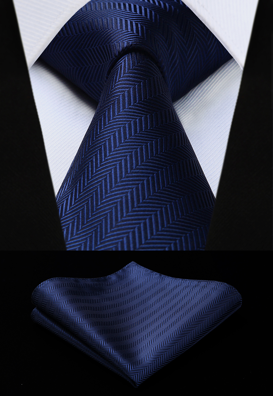 Party Wedding Classic Fashion Pocket Square Tie Woven Men Navy Blue Tie Striped Necktie Handkerchief Set#TS723V8S