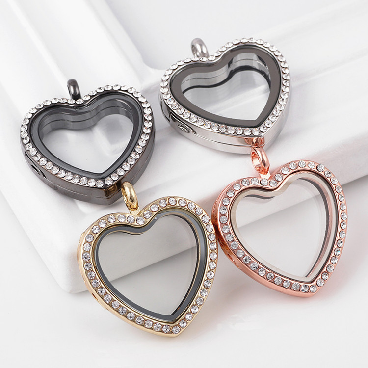 10pcs/lot Rhinestone Alloy Heart Floating Locket Necklaces & Pendants - Fashion Jewelry - Photo 5