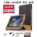 Для Cube iwork10 флагман этой чехол таблетки посвященный Ультра Тонкий 3-папка Холст Зерна Фолио Стенд PU Кожаный Чехол