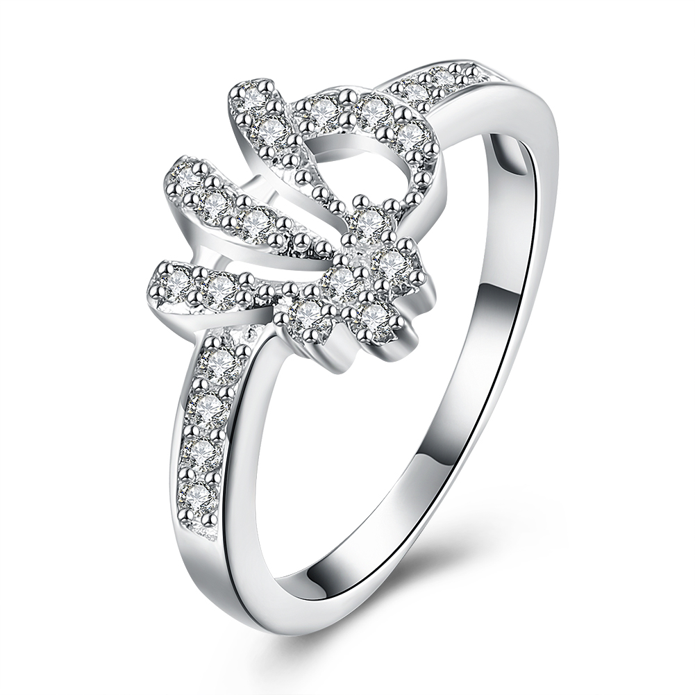 Hot Sale Exquisite Geometry White Crystal Ring 925