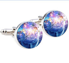 1 pair Silver plated Atom Cufflinks Quantum Physics Cuffl inks for men and women Accessories blue cufflinks for mens