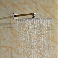 Wholesale And Retail Luxury Brushed Nickel Untrathin Round Rain Shower Head Wall Mounted Shower Arm Stainless Steel