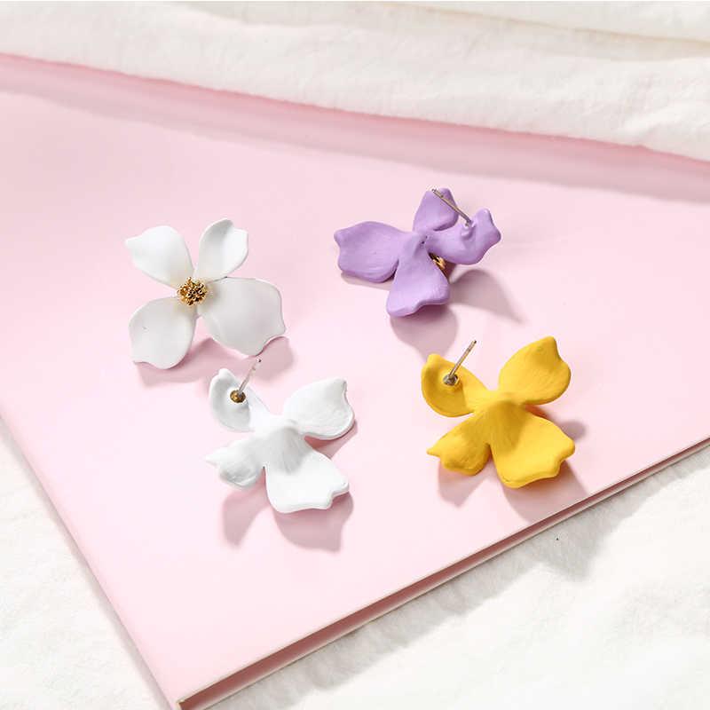 12 sortes bonbons couleur pétales or étamine jaune rouge blanc vert rose fleurs acrylique boucles d'oreilles pour les femmes