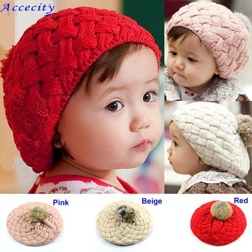 Free Shipping Hot Fashion Cute Children Baby Kids Knit Crochet Beanie Winter Warm Hat Cap with Rabbit Fur Ball, Girl Hat