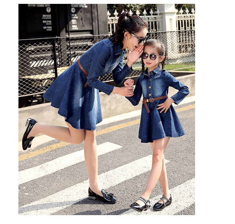af0adaa811 Girl Spring Denim Blue Dress for Kids Women Jeans Dresses Tutu Cute  Beautiful Jean with belt Family matching outfits clothing-in Matching  Family Outfits ...