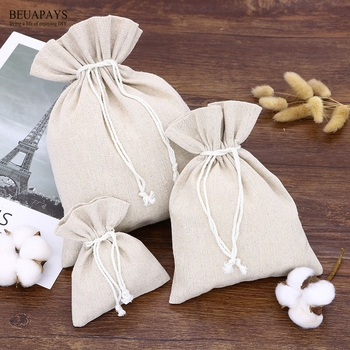 200pcs Environmentally friendly cotton and hemp rope-pulling bag canvas Backpack Bag wedding gift baby shower home decoration